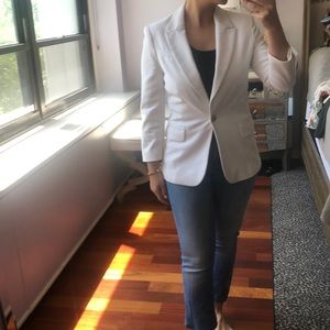 ZARA white blazer with gold button details